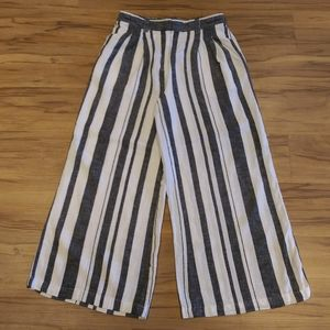 Who What Wear Striped Linen Blend Wide Leg Pants